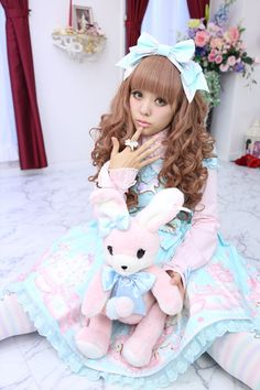 •○~ Sweet lolita, 甘いロリータ♥  Angelic Pretty - pastel - hair bow - lace - rabbit plush bag - jewelry - coordinate - cute - kawaii - Japanese street fashion✮ ~•○