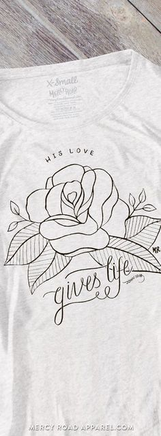 Handcrafted women's Christian Flowy Dolman Tee. Rose, John 10:10 Gives Life Abundantly, soft heather white triblend. FREE SHIP USA. MercyRoadApparel.com    This design is copyrighted ©️️2016MercyRoadApparel