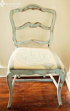 Louis Blue by Annie Sloan's Chalk Paint. Think of using antique flour sack as center of chair seat