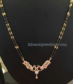 Simple yet elegant two layer black beads sets with elaborated diamond pendants in 18 carat yellow gold, gemstones studded on . Gold Mangalsutra Designs, Gold Earrings Designs, Necklace Designs, Gold Designs, Gold Chain Design, Gold Jewellery Design, Bridal Jewelry, Beaded Jewelry, Silver Jewelry