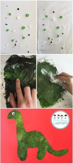 Are you looking for a fun art and craft activity? Today I'm sharing a really simple dinosaur craftivity which is sure to delight kiddies of all ages…and it might have possibly delighted me a little too much too! What you'll need: Green, white and brown paint Cling wrap Cardboard (white and a background colour of …