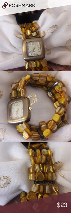 """Women's Watch With Mother Of Pearl Beaded Bracelet New With No Tags  Quartz Wrist Watch  Japan Movt  Stainless Steel Back  Square Shape Case 1""""×1"""" Face Made with Mather of Pearl Three Hands  Stretching Bracelet  Made with  Mather of Pearl Beads  This Fancy Watch  Will never go out of style! Wonderful gift for lasting memories! Please Feel Free To Ask Questions Accessories Watches"""