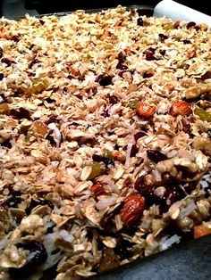 Homemade granola with fruit, coconut, nuts and yummy  maple syrup! ReluctantEntertainer.com