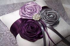 grey and plum wedding   Ring Bearer Pillow - Dark Plum, Lilac, Charcoal Gray and White, custom ...
