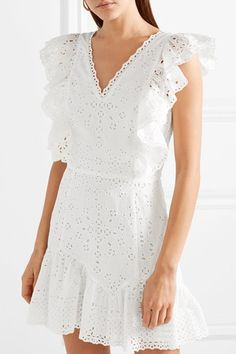 27 Broderie Anglaise Pieces To Buy Now White Romper Dress, White Mini Dress, Smocks, Dinosaur Design, Couture, Buy Now, Short Sleeve Dresses, Tunic Tops, Summer Dresses