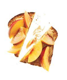 Whole-Grain Bread With Almond Butter and Peaches:  Spread 2 teaspoons almond butter on 1 slice toasted whole-grain bread. Top with ½ sliced peach.    135 calories | 3g fiber | 6g protein | 7g fat