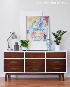 Friday's Furniture Fix No. 14 Painted Mid Century Dresser by The Weathered Door. Dark Wood Dresser, Stained Dresser, Dark Wood Furniture, Furniture Fix, 9 Drawer Dresser, Refurbished Furniture, Furniture Makeover, Painted Furniture, Dressers