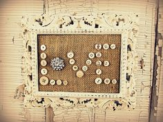 love the burlap with buttons and bling