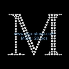 2.5 Inches Height English M Rhinestone Uppercase Letter Design