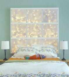 Cool headboard created with LED.  Easy and cheap to do!  May have to do an entire wall like this...
