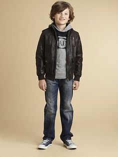 Armani Junior - Boy's Distressed Leather Bomber Jacket