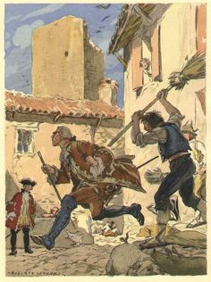 [Baron Del Mestre], he prowled about everywhere, he entered their cottages, and wherever he found a few bunches of grapes he caned all [...] After being present several times at these cruel scenes, it fell to my lot one day that to witness the blows which two peasants rained on him with broomsticks; he saw fit to withdraw after receiving a sound thrashing...from the 1932 French edition of Casanova's Histoire de ma Vie. Watercolor by Auguste Leroux (1871-1954)
