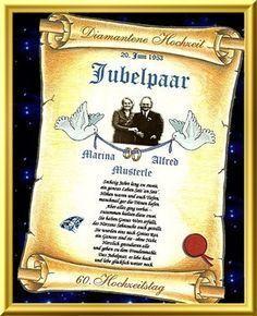 Diamantene Hochzeit Urkunden als Geschenk zum Hochzeitstag