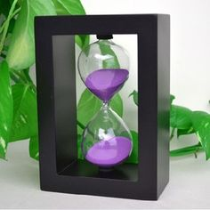 Edeal-YN Fashion Home Decor ,Office, School and Decorative Use Wood frame 45 Minute Hourglass Glass Sand Timer Sand clock timer for Kitchen (Black Frame Purple Sand) ~ Cute Home Decor ~ Olivia Decor - decor for your home and office. Hourglass Sand Timer, Sand Timers, Black Kitchens, Kitchen Black, Kitchen Office, Timer Clock, Cool Clocks, Colored Sand, Cute Home Decor
