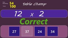 Table Champ // Table Champ is a fun multiplication game to help children learn their times tables. In this exciting game players must race against the clock to complete as many multiplication questions as they can. Points are awarded for correct answers, deducted for incorrect ones and there is also a time bonus for chains of correct answers. Fun Multiplication Games, Math 5, Times Tables, Windows 8, 5th Grades, Champs, Mathematics, Kids Learning