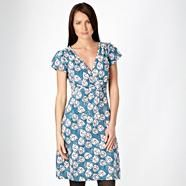 Turquoise leaf printed jersey #dress