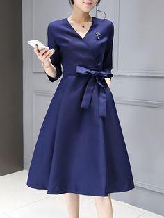 魅力的VネックAラインセレブ愛用七分袖OLワンピース - レディースファッション激安通販|20代·30代·40代ファッション