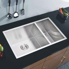 """Undermount Kitchen Sink With Drainer 36"""" 16 guage undermount stainless steel kitchen sink with 13"""