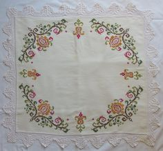 Vintage Tablecloth Embroidery cross stitch with Crochet Lace Floral Serving Supplies by VintageHomeStories on Etsy Crochet Lace, Crochet Cross, Vintage Tablecloths, Cottage Chic, Shabby Chic Decor, Pattern Making, Decoration, Cross Stitch Embroidery, Fiber Art
