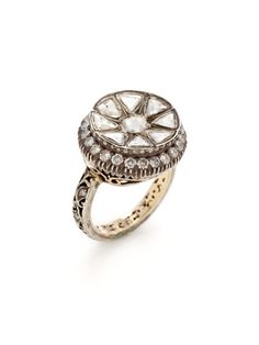 Two-Tone & Diamond Disc Ring by Amrapali at Gilt