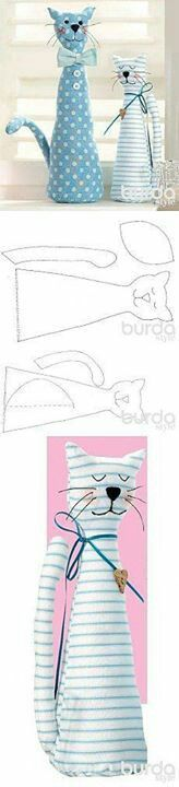 Sewing toys cat ideas 46 New Ideas Fabric Toys, Fabric Crafts, Sewing Crafts, Sewing Projects, Sew Toys, Doll Patterns, Sewing Patterns, Fabric Animals, Cat Quilt