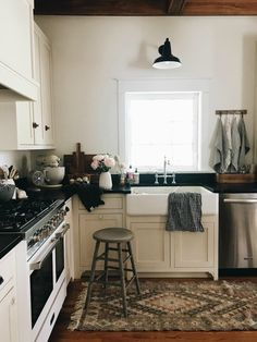 Come see this completely transformed 19th century kitchen into a farmhouse styled small space living 110 sqft kitchen! #nestingwithgrace #farmhousekitchen #whitekitchen #oldhouse #smallspaceliving