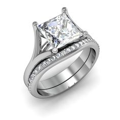 wedding sets princess cut | ... Princess cut Split Shank Solitaire Diamond Bridal Set SI1-G GIA