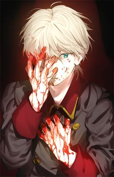 "(Open rp? It's his POV) *I worriedly look up at you, crazily looking at the blood* ""Please..leave now..I don't want to devour you too.."""