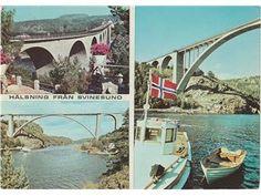 Halden Svinesundbroen mellom Norge Sverige 3-bildskort 1971