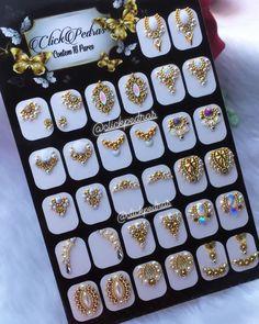Rhinestone Nails, Bling Nails, Swag Nails, Nail Crystal Designs, Nail Art Designs, Gem Nails, Diamond Nails, Nails Design With Rhinestones, Nail Jewels