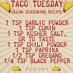 Clean Taco Seasoning! 21 Day Fix approved recipe. Taco Tuesday!! (per 1lb of ground beef/turkey)