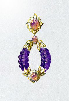 Drawing of yellow gold, diamonds, amethysts and kunzites earrings, circa 1973, Van Cleef & Arpels' Archives