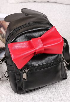 Cute Bow Small Travel Synthetic Leather Backpack