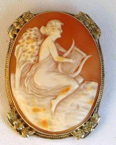 Edwardian 14kt White Gold Full Figural Cameo of Euterpe