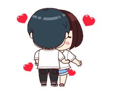 Koji-kun with Aiko-chan 2 Love You Cute, Love You Gif, Cute Love Stories, Cute Love Pictures, Love Cartoon Couple, Cute Cartoon Pictures, Cute Love Cartoons, Abrazo Virtual Gif, Calin Gif