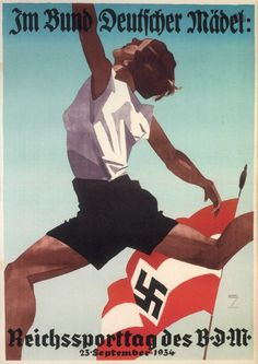 League of German Girls - Nazi Propaganda. Ludwig Hohlwein (1874-1949) poster illustrator and designer