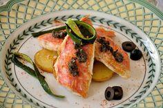 Goatfish, potatoes and tapenade