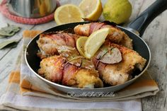 Chicken of the poet, with bacon and lemon - Pollo del poeta, con pancetta e limone Meat Recipes, Chicken Recipes, Cooking Recipes, Pollo Chicken, Chicken Limone, Food Design, I Foods, Italian Recipes, Food Inspiration