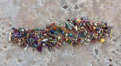 Multi colored beaded bracelet using free form peyote stitch