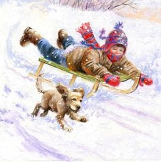 Jim Mitchell - sleigh n pup contrast. Christmas Scenes, Christmas Mood, Christmas Animals, Christmas Pictures, Vintage Christmas, Christmas Card Crafts, Christmas Drawing, Christmas Paintings, Winter Images