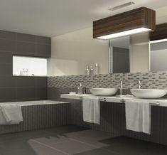 piastrelle da rivestimento bagno 60x120 e 15x120 grigio chiaro ... - Bagni Moderni Senza Piastrelle