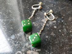 Dice earrings bakelite, 30s/40s Plastic Earrings, Drop Earrings, Dice, Cringe, Emoji, Snake, Personalized Items, Vintage, Collection