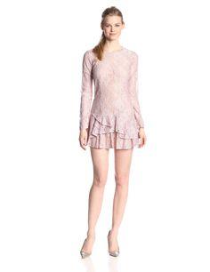 Lysa Asymmetric-Flounce Lace Dress by BCBGMAXAZRIA