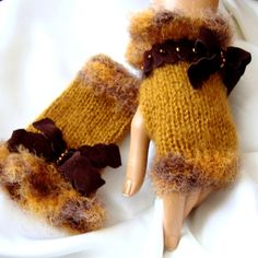 Hand Made Knitting Selective Yellow  Fingerless Glove Arm ♥ by Pasin