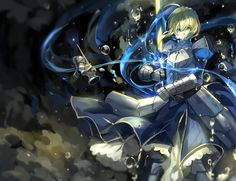 Anime picture with fate (series) fate/stay night type-moon saber saberiii long hair single highres blonde hair looking at viewer green eyes ahoge braid (braids) girl dress weapon sword armor puffy sleeves water drop Saber Fate, Arturia Pendragon, Fate Stay Night Anime, Fate Servants, Fate Zero, Anime Artwork, Awesome Anime, Anime Manga, Wallpaper Backgrounds