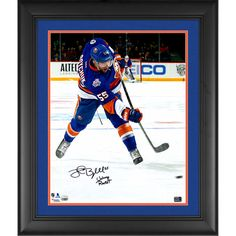 "Johnny Boychuk New York Islanders Fanatics Authentic Framed Autographed 16"" x 20"" Blue Jersey Shooting Photograph with Johnny Rocket Inscription - $169.99"