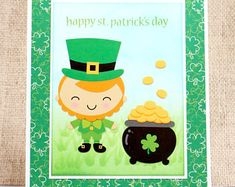 Leprechaun Card- St Patricks Day Card- Saint Patricks Day- Happy St Patricks Day #stpatricksday #handmadecards #saintpatricksday
