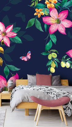 Tropical Flowers on Navy Stunning Tropical Flowers on Navy wall mural by Di Brookes at Wallsauce. This high quality Tropical Flowers on Navy wallpaper is custom made to your dimensions. This image is Di Brookes Stunning tropical wall mural with lar Wall Painting Flowers, Wall Painting Decor, Mural Wall Art, Painted Flowers On Wall, Tropical Flowers, Large Flowers, Navy Flowers, Navy Wallpaper, Wallpaper Designs For Walls