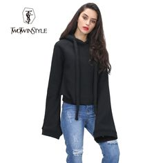 [TWOTWINSTYLE] streetwear women hoodies sweatshirts extra long flare sleeves pullovers with hat 2017 autumn winter fashion new