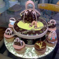 Louis Vuitton cake and cupcakes.